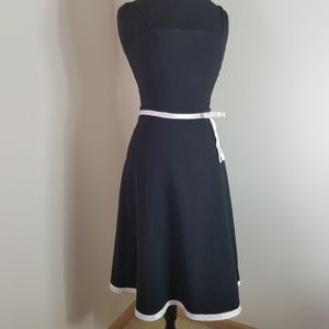 BCX Sleeveless Black Dress With White Ribbon Waist